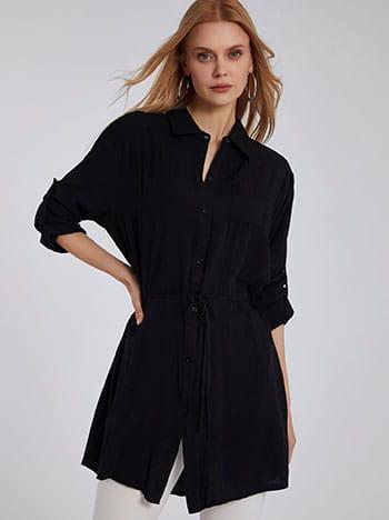 Μακρύ πουκάμισο, με τσέπη, αποσπώμενη ζώνη, γυριστό μανίκι με κουμπί, κλείσιμο με κουμπιά, μαυρο