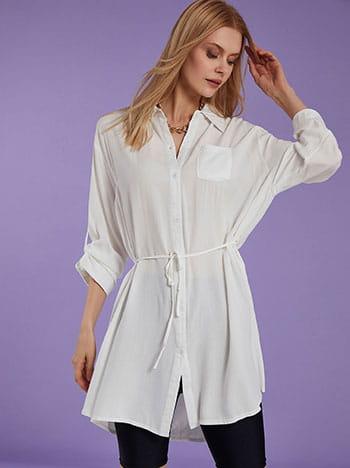 Μακρύ πουκάμισο, με τσέπη, αποσπώμενη ζώνη, γυριστό μανίκι με κουμπί, κλείσιμο με κουμπιά, λευκο
