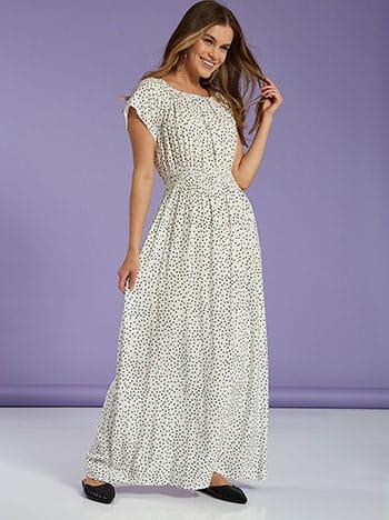 Πουά φόρεμα, με σφηκοφωλιά, χωρίς κούμπωμα, λευκο