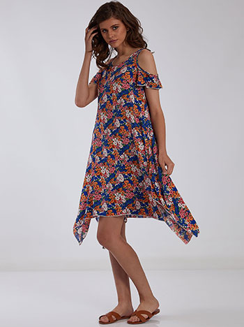 Ασύμμετρο floral φόρεμα, χωρίς κούμπωμα, μιχ 1