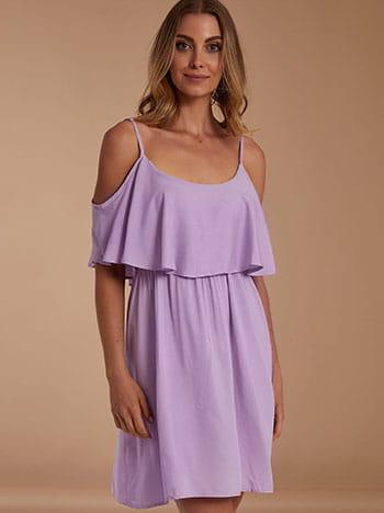 Mini φόρεμα με βολάν, ελαστική μέση, ρυθμιζόμενες τιράντες, μωβ