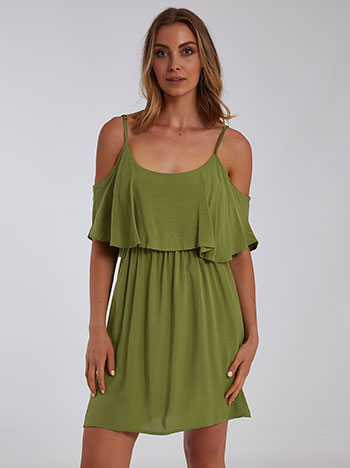 Mini φόρεμα με βολάν, ελαστική μέση, ρυθμιζόμενες τιράντες, χακι