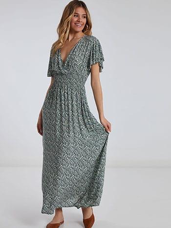 Maxi φόρεμα, κρουαζέ, χωρίς κούμπωμα, απαλή υφή, πρασινο λευκο