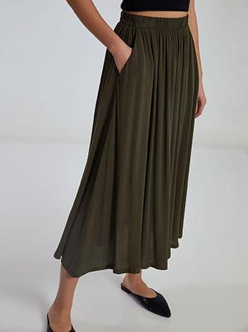 Midi φούστα με τσέπες, ελαστική μέση, χωρίς κούμπωμα, απαλή υφή, χακι
