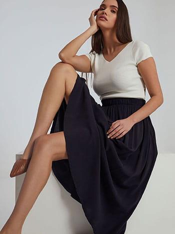 Midi φούστα με τσέπες, ελαστική μέση, χωρίς κούμπωμα, απαλή υφή, σκουρο μπλε