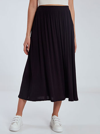 Midi φούστα με τσέπες, ελαστική μέση, χωρίς κούμπωμα, απαλή υφή, μαυρο