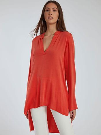 Μακριά ασύμμετρη μπλούζα, άνοιγμα στο πλάι, κοραλι