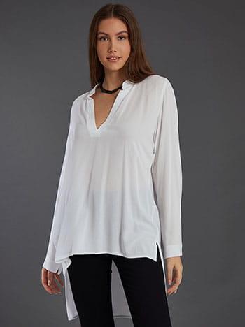 Μακριά ασύμμετρη μπλούζα, άνοιγμα στο πλάι, λευκο