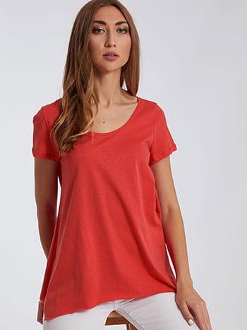 Μπλούζα με αφινίριστο τελείωμα, στρογγυλή λαιμόκοψη, ασύμμετρο τελείωμα, celestino collection, κοραλι