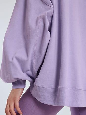 Ασύμμετρη ζακέτα φούτερ, με κουκούλα, απαλή υφή, λιλα
