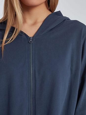 Ασύμμετρη ζακέτα φούτερ, με κουκούλα, απαλή υφή, μπλε