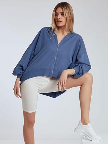 Ασύμμετρη ζακέτα φούτερ, με κουκούλα, απαλή υφή, μπλε ραφ