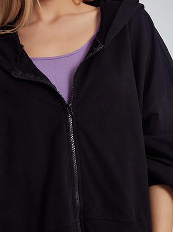 Ασύμμετρη ζακέτα φούτερ, με κουκούλα, απαλή υφή, μαυρο