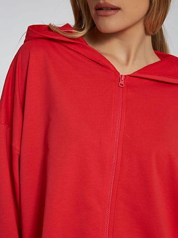 Ασύμμετρη ζακέτα φούτερ, με κουκούλα, απαλή υφή, κοκκινο