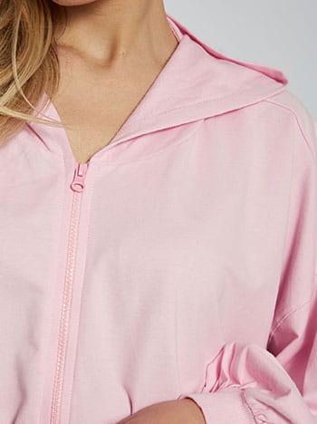 Ασύμμετρη ζακέτα φούτερ, με κουκούλα, απαλή υφή, ροζ