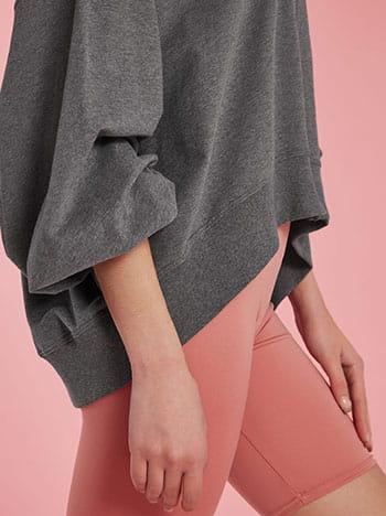 Ασύμμετρη ζακέτα φούτερ, με κουκούλα, απαλή υφή, γκρι σκουρο
