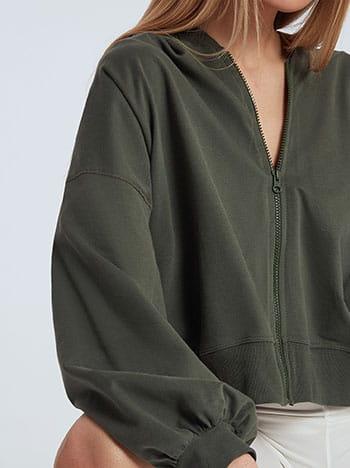 Ασύμμετρη ζακέτα φούτερ, με κουκούλα, απαλή υφή, χακι