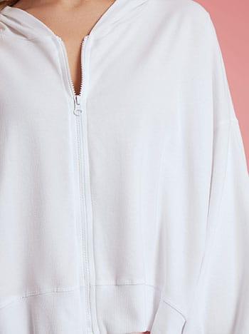 Ασύμμετρη ζακέτα φούτερ, με κουκούλα, απαλή υφή, λευκο
