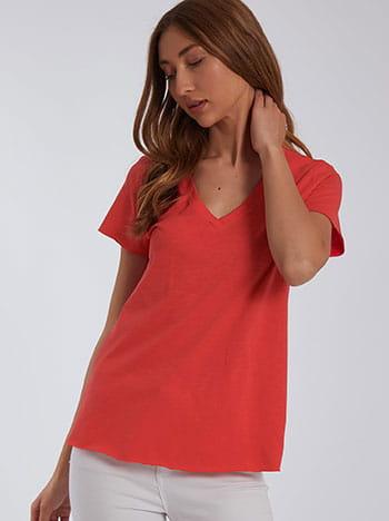 Μπλούζα με αφινίριστο τελείωμα, v λαιμόκοψη, celestino collection, κοραλι