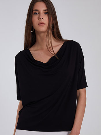 Ντραπέ κοντομάνικη μπλούζα, ύφασμα με ελαστικότητα, απαλή υφή, celestino collection, μαυρο