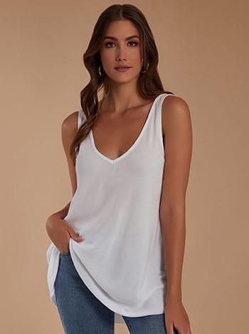 Αμάνικη μπλούζα, v λαιμόκοψη, v πλάτη, celestino collection, λευκο