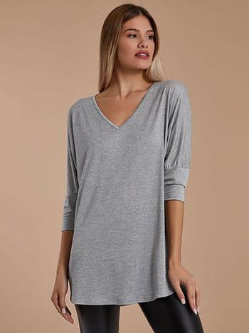Μεταλλιζέ μπλούζα, v λαιμόκοψη, ύφασμα με ελαστικότητα, 3/4 μανίκι, ασημι