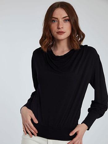 Ντραπέ μπλούζα, ύφασμα με ελαστικότητα, απαλή υφή, μαυρο