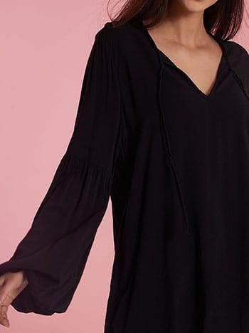 Μπλούζα με δέσιμο, balloon μανίκι, απαλή υφή, μαυρο