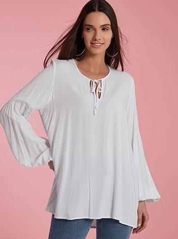 Μπλούζα με δέσιμο, balloon μανίκι, απαλή υφή, λευκο