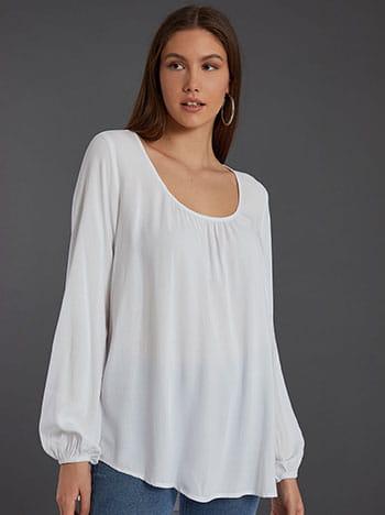 Μπλούζα με σούρες, balloon μανίκι, απαλή υφή, λευκο