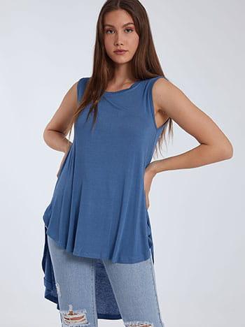Αμάνικη ασύμμετρη μπλούζα, στρογγυλή λαιμόκοψη, ύφασμα με ελαστικότητα, μπλε ραφ