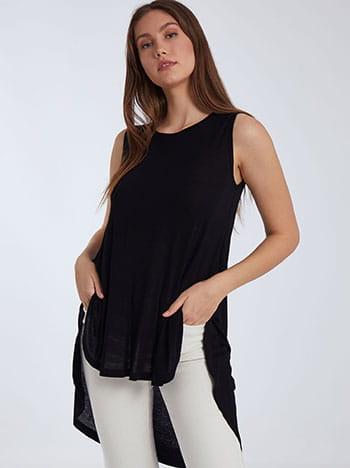 Αμάνικη ασύμμετρη μπλούζα, στρογγυλή λαιμόκοψη, ύφασμα με ελαστικότητα, μαυρο