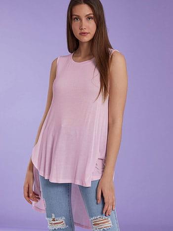 Αμάνικη ασύμμετρη μπλούζα, στρογγυλή λαιμόκοψη, ύφασμα με ελαστικότητα, ροζ