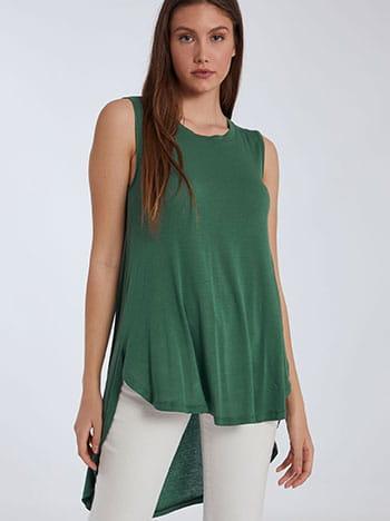Αμάνικη ασύμμετρη μπλούζα, στρογγυλή λαιμόκοψη, ύφασμα με ελαστικότητα, πρασινο