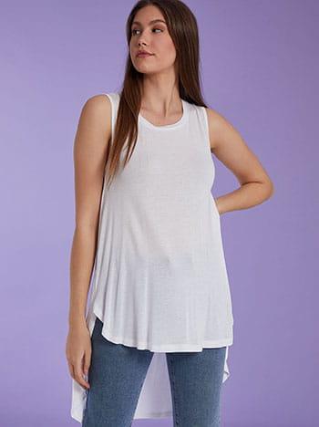 Αμάνικη ασύμμετρη μπλούζα, στρογγυλή λαιμόκοψη, ύφασμα με ελαστικότητα, λευκο