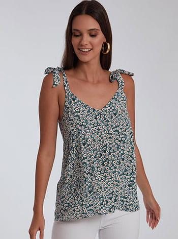 Floral μπλούζα με δέσιμο, v λαιμόκοψη, v πλάτη, χωρίς κούμπωμα, λευκο πετρολ