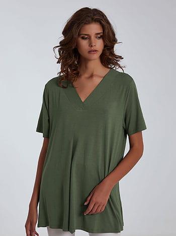 Μπλούζα με v λαιμόκοψη, απαλή υφή, ύφασμα με ελαστικότητα, κοντό μανίκι, celestino collection, χακι