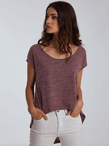 Ασύμμετρη μπλούζα, λαιμόκοψη χαμόγελο, απαλή υφή, celestino collection, μωβ
