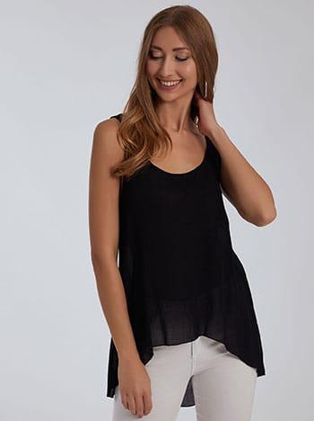 Ασύμμετρη αμάνικη μπλούζα, στρογγυλή λαιμόκοψη, celestino collection, μαυρο