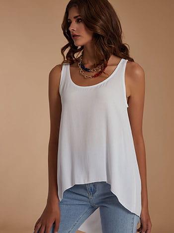 Ασύμμετρη αμάνικη μπλούζα, στρογγυλή λαιμόκοψη, celestino collection, λευκο