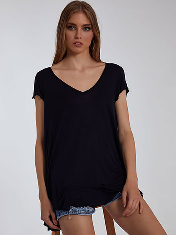 Μπλούζα με v, βολάν στο τελείωμα, κοντό μανίκι, ύφασμα με ελαστικότητα, απαλή υφή, celestino collection, midnight blue
