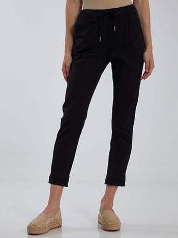 Cropped παντελόνι, ελαστική μέση, με τσέπες, εσωτερικό κορδόνι, μαυρο