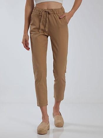 Cropped παντελόνι, ελαστική μέση, με τσέπες, εσωτερικό κορδόνι, μπεζ
