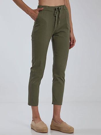 Cropped παντελόνι, ελαστική μέση, με τσέπες, εσωτερικό κορδόνι, χακι