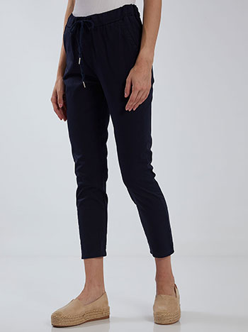 Cropped παντελόνι, ελαστική μέση, με τσέπες, εσωτερικό κορδόνι, σκουρο μπλε