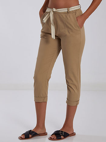 Παντελόνι με αποσπώμενη ζώνη, με τσέπες, θηλιές στη μέση, χωρίς κούμπωμα, μπεζ
