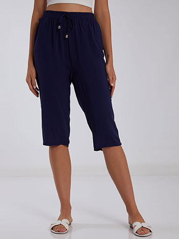 Cropped παντελόνι με βαμβάκι, ελαστική μέση, με τσέπες, διακοσμητικό κορδόνι, σκουρο μπλε