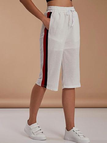 Cropped παντελόνα με πλαϊνές ρίγες, ελαστική μέση, με τσέπες, εσωτερικό κορδόνι, λευκο