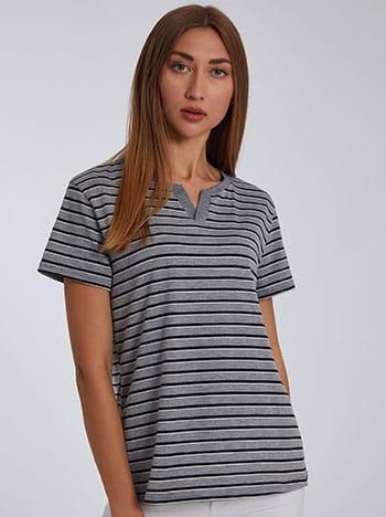 Μπλούζα με v, ύφασμα με ελαστικότητα, μιχ 4