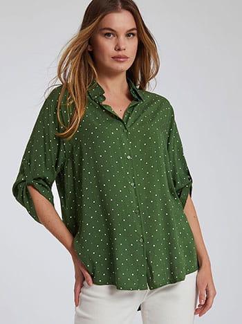 Πουά πουκάμισο, κλείσιμο με κουμπιά, γυριστό μανίκι με κουμπί, 3/4 μανίκι, πρασινο λευκο